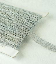 Metallic Silver 20mm Criss Cross Braid x 1m